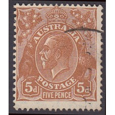 Australian King George V 5d Brown   Wmk C of A  Plate Variety 3R25..