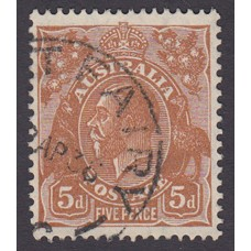 Australian King George V 5d Brown   Wmk C of A  Plate Variety 3R26..