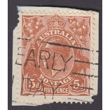 Australian King George V 5d Brown   Wmk C of A  Plate Variety 3R26
