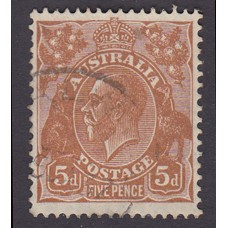 Australian    King George V    5d Brown   C of A WMK   Plate Variety 3R27..