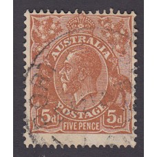 Australian    King George V    5d Brown   C of A WMK   Plate Variety 3R28