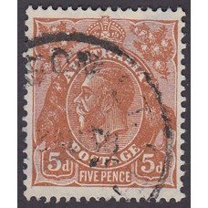 Australian    King George V    5d Brown   C of A WMK   Plate Variety 3R28..