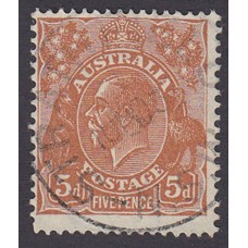 Australian  King George V  5d Brown   Wmk  C of A  Plate Variety 3R3..