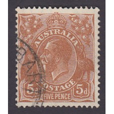 Australian    King George V    5d Brown   C of A WMK   Plate Variety 3R32