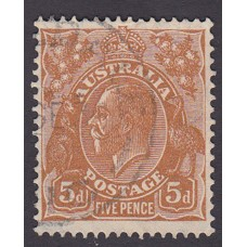 Australian    King George V    5d Brown   C of A WMK   Plate Variety 3R32..