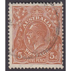 Australian    King George V    5d Brown   C of A WMK   Plate Variety 3R36..