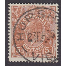 Australian    King George V    5d Brown   C of A WMK   Plate Variety 3R37..