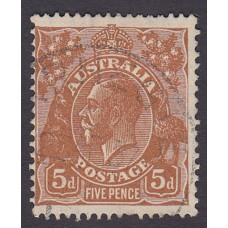 Australian    King George V    5d Brown   C of A WMK   Plate Variety 3R38..