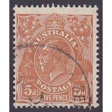 Australian  King George V  5d Brown   Wmk  C of A  Plate Variety 3R4..