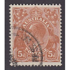 Australian    King George V    5d Brown   C of A WMK   Plate Variety 3R41..