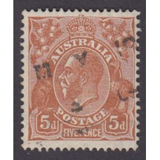 Australian    King George V    5d Brown   C of A WMK  Plate Variety 3R45..