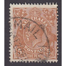 Australian    King George V    5d Brown   C of A WMK  Plate Variety 3R48..