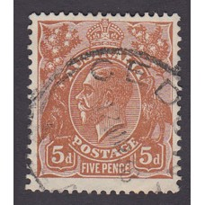 Australian    King George V    5d Brown   C of A WMK  Plate Variety 3R49..
