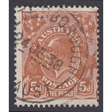 Australian  King George V  5d Brown   Wmk  C of A  Plate Variety 3R5..