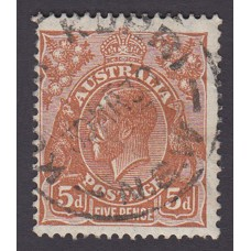 Australian    King George V    5d Brown   C of A WMK  Plate Variety 3R50..