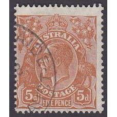 Australian    King George V    5d Brown   C of A WMK  Plate Variety 3R53..