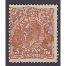 Australian    King George V    5d Brown   C of A WMK  Plate Variety 3R56..