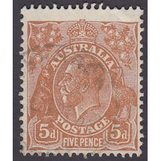 Australian    King George V    5d Brown   C of A WMK  Plate Variety 3R59
