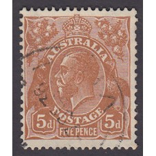 Australian    King George V    5d Brown   C of A WMK  Plate Variety 3R59..