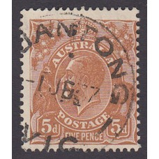Australian  King George V  5d Brown   Wmk  C of A  Plate Variety 3R6..