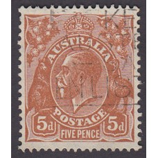 Australian    King George V    5d Brown   C of A WMK  Plate Variety 3R60..