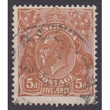 Australian  King George V  5d Brown   Wmk  C of A  Plate Variety 3R7..