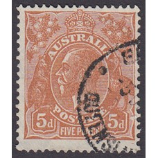 Australian  King George V  5d Brown   Wmk  C of A  Plate Variety 3R8..