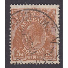 Australian    King George V    5d Brown   C of A WMK  1st State Plate Variety 3R43..