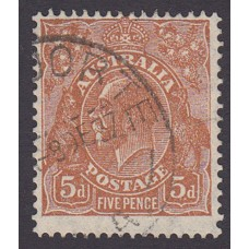 Australian  King George V  5d Brown   Wmk  C of A  2nd State Plate Variety 3L5..