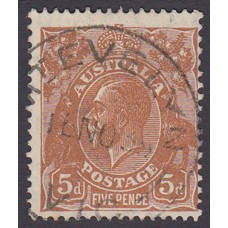 Australian  King George V  5d Brown   Wmk  C of A  Plate Variety 3L58..