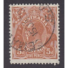 Australian  King George V  5d Brown   Wmk  C of A  Plate Variety 3L29..