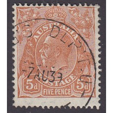 Australian    King George V    5d Brown   C of A WMK   Plate Variety 3R31..