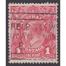 Australian    King George V    1d Red   Single Crown WMK   Plate Variety 5/24