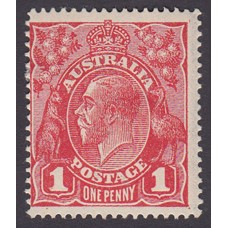 Australian    King George V    1d Red   Single Crown WMK   3rd State Plate Variety 5/24..