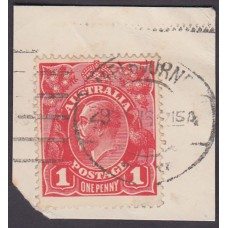 Australian    King George V    1d Red   Single Crown WMK   3rd State Plate Variety 5/25..