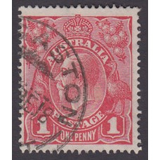 Australian    King George V    1d Red   Single Crown WMK   2nd State Plate Variety 5/26