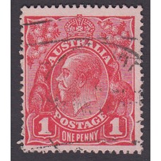 Australian    King George V    1d Red   Single Crown WMK   2nd State Inverted Watermark Plate Variety 5/26