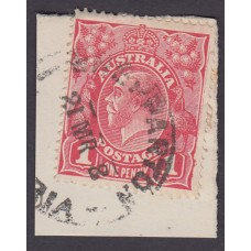 Australian    King George V    1d Red   Single Crown WMK   2nd State Plate Variety 5/30