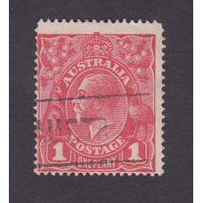 Australian    King George V    1d Red   Single Crown WMK  Inverted Watermark Plate Variety 5/1..
