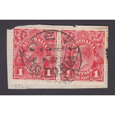 Australian    King George V    1d Red   Single Crown WMK  Horizontal Pair Plate Variety 5/7-8..