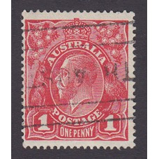 Australian    King George V    1d Red   Single Crown WMK  Plate Variety 5/7