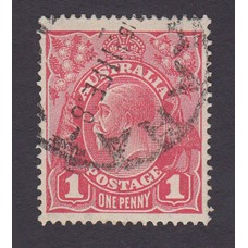 Australian    King George V    1d Red   Single Crown WMK  Plate Variety 5/7..