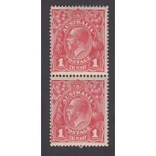 Australian    King George V    1d Red   Single Crown WMK  2nd State  Vertical Pair Plate Variety 5/20-26