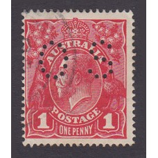 Australian    King George V    1d Red  Single Crown WMK 3rd State Perf O.S. Plate Variety 5/10..