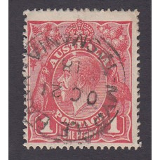 Australian    King George V    1d Red  Single Crown WMK 3rd State Plate Variety 5/12