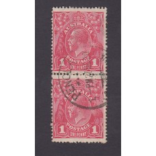 Australian    King George V    1d Red   Single Crown WMK  2nd State Vertical Pair Plate Variety 5/13..