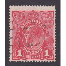 Australian    King George V    1d Red   Single Crown WMK   2nd State Rough Paper Plate Variety 5/26..