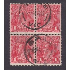Australian    King George V    1d Red  Single Crown WMK Block of 4 Plate Variety 5/11-12 and 17-18..