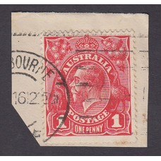 Australian    King George V    1d Red   Single Crown WMK  1st State  Plate Variety 5/21