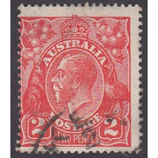 Australian    King George V    2d Red  Single Crown WMK Plate Variety 16R19..